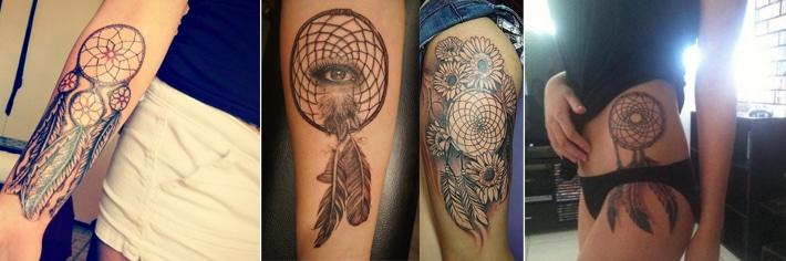 Traumfänger Tattoo auf dem Oberschenkel, Oberarm und Unterarm